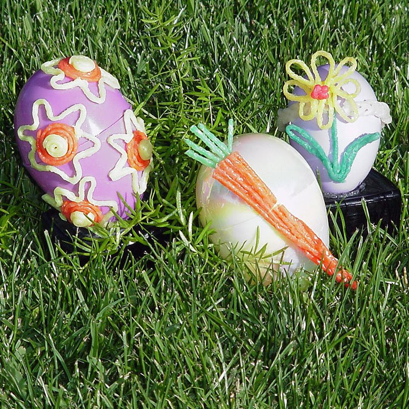 3 Decorated Wikki Stix Easter Eggs