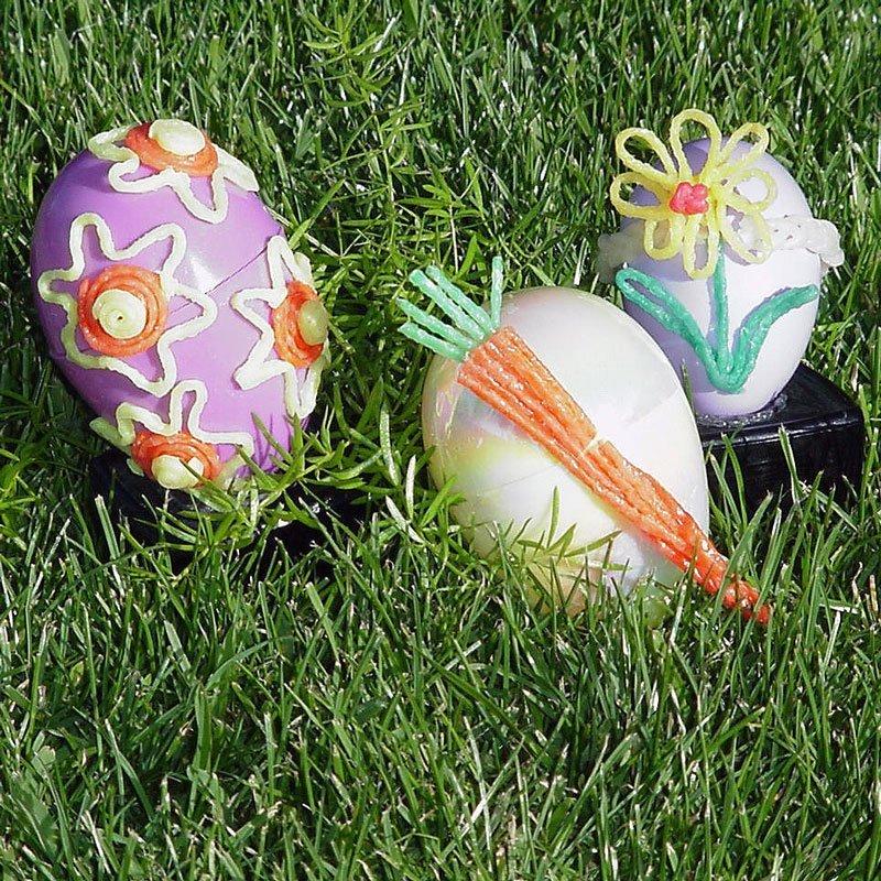 3 Decorated Wikki Stix Easter Eggs