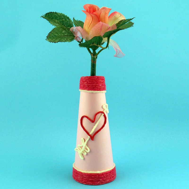 Create a Spool Vase with Wikki Stix for Valentine's Day