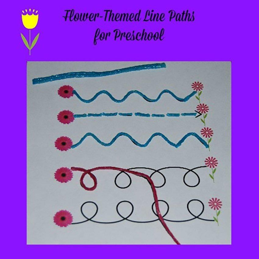 Flower-themed Line Paths for Preschool