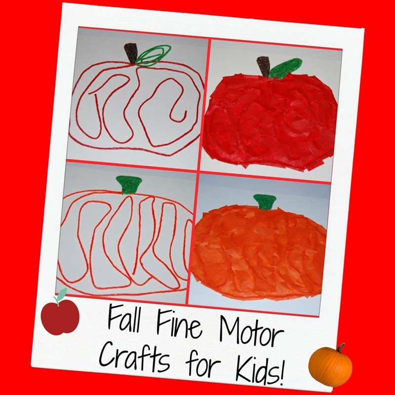 Fall Apple and Pumpkin Fine Motor Crafts for Kids