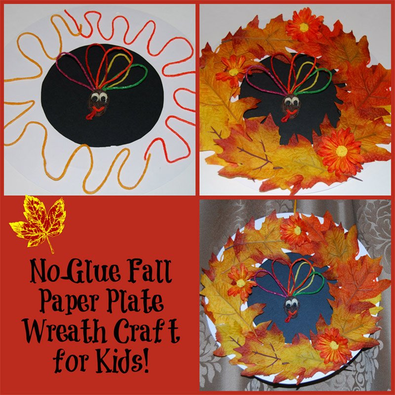 No-Glue Fall Paper Plate Wreath Craft for Kids