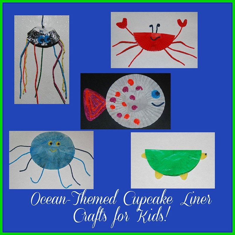 Wikki Stix Ocean Animal Cupcake Liner Crafts for Kids