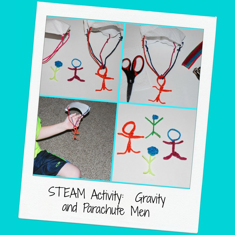 STEAM for Kids:  Gravity and Created Parachute Men