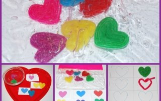 Floating Hearts Sensory Bag and Color Games for Valentine's Day!
