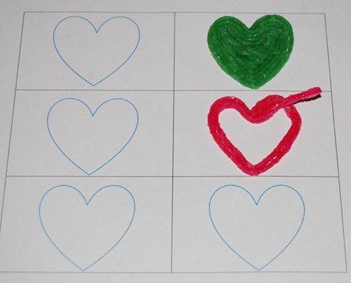 Wikki Stix Created Hearts Template