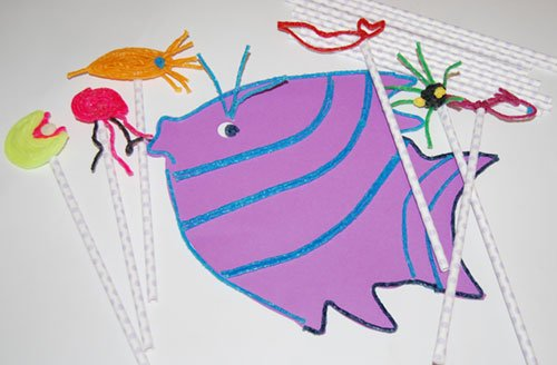 Pout-Pout Fish Created Stick Puppets