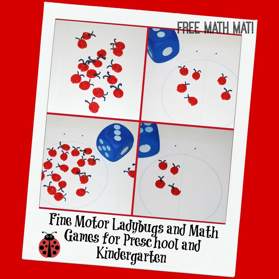 Fine Motor Ladybugs and Math Games for Preschool and Kindergarten