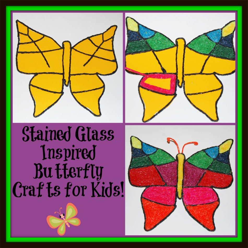 Stained Glass Inspired Butterfly Crafts for Kids!