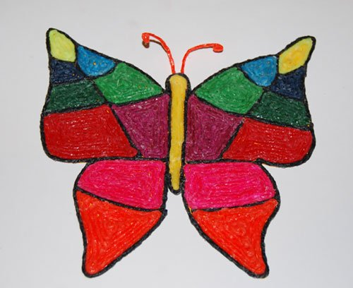 Stained glass inspired butterfly crafts for kids wikki stix for Butterfly stained glass craft