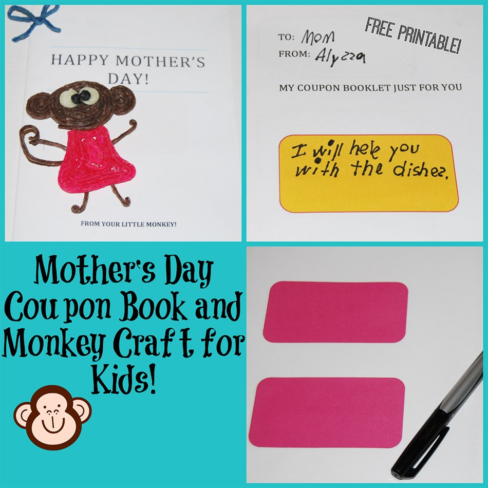 mother s day coupon book and monkey craft for kids wikki stix