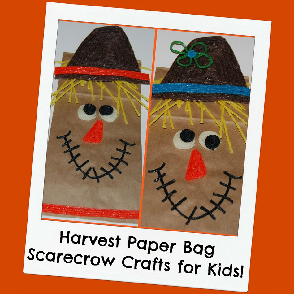 Harvest-Themed Paper Bag Scarecrow Crafts for Kids!
