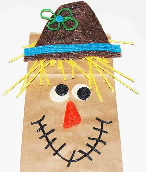 Paper Bag Scarecrow Puppet Craft !