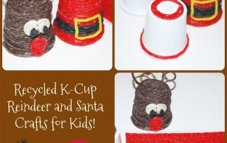 Recycled K-Cup Reindeer and Santa Crafts for Kids!