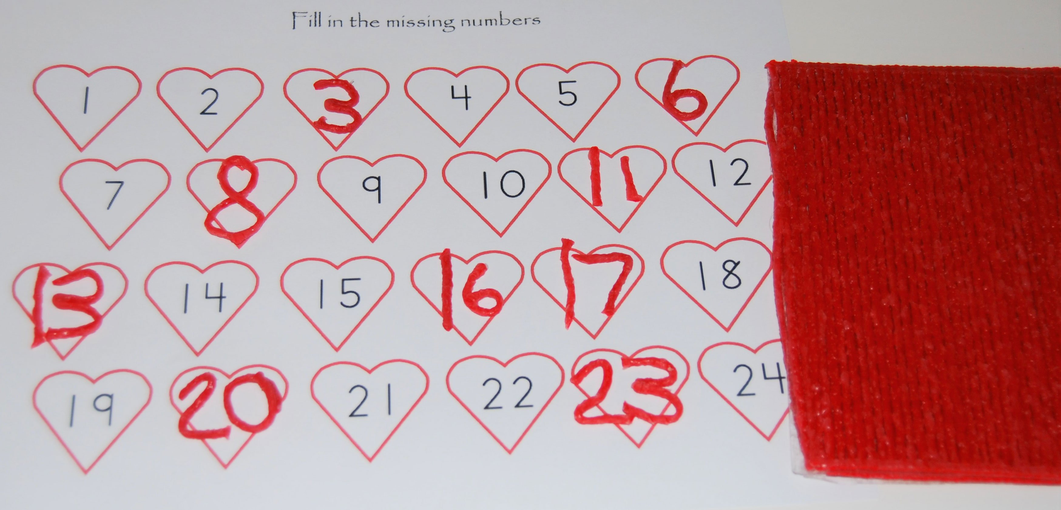 Valentine's Day Missing Number Activity