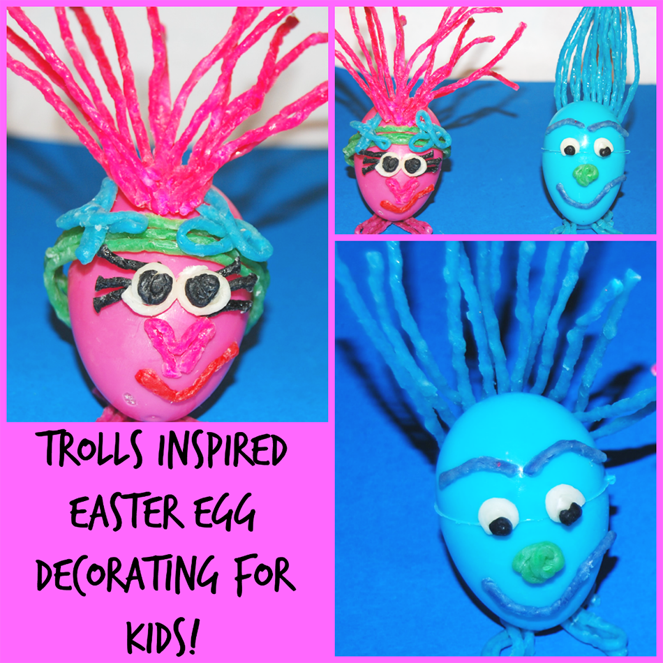 Trolls Inspired Easter Egg Crafts for Kids!