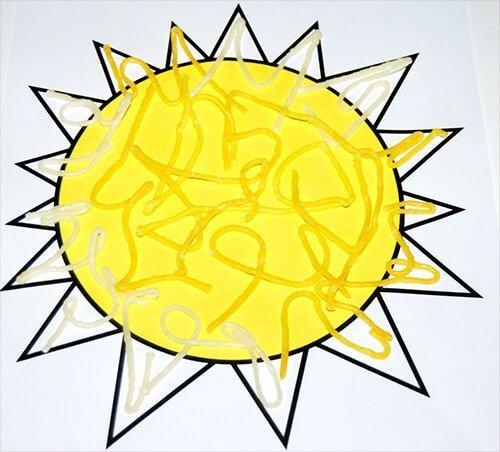 Randomly place Wikki Stix inside the sunshine template