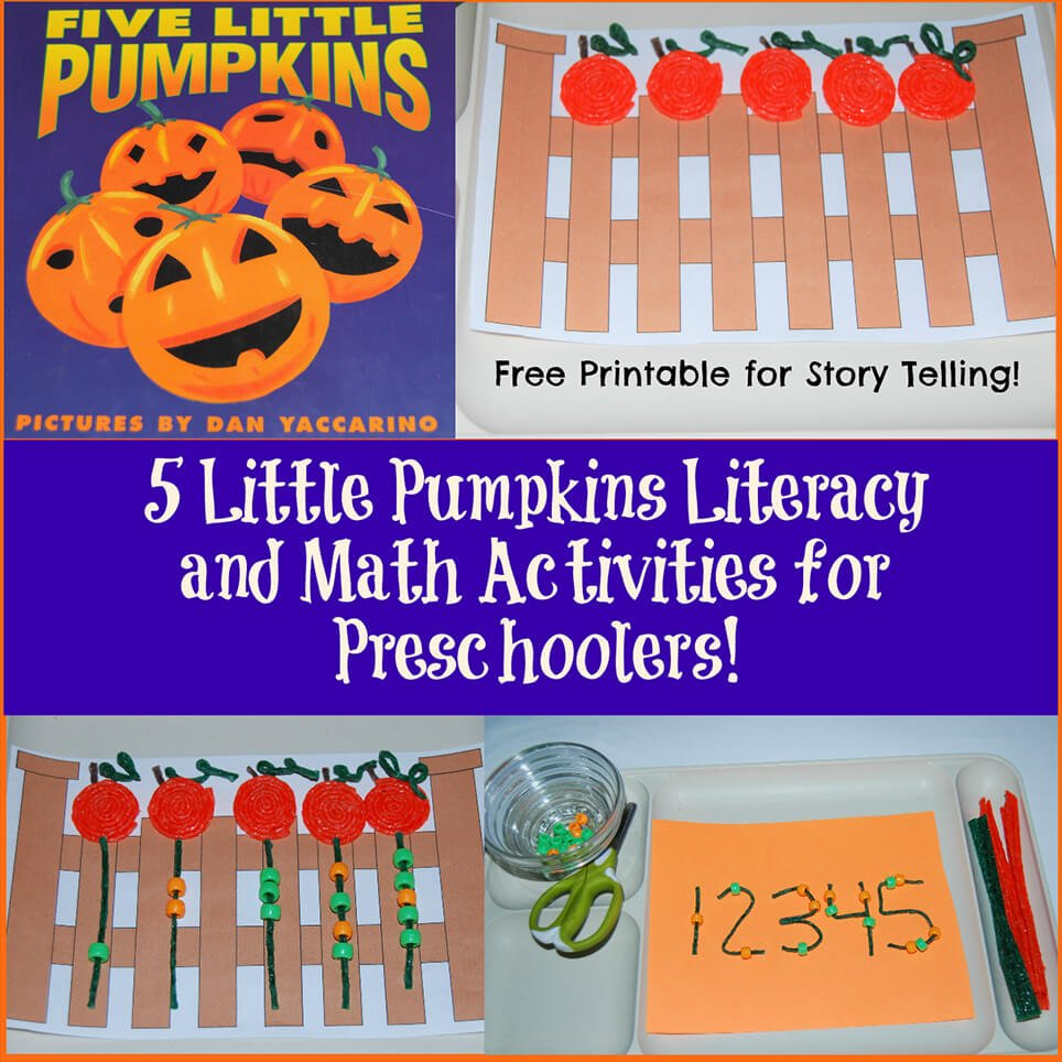 image about Five Little Pumpkins Printable identified as 5 Small Pumpkins Literacy and Math Things to do for