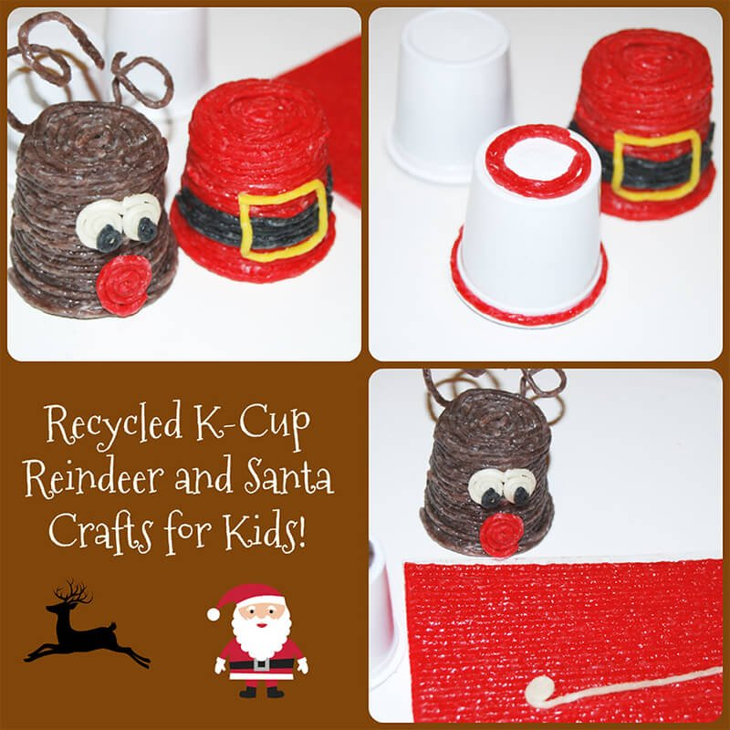 Recycled K-Cup Reindeer and Santa Crafts for Kids