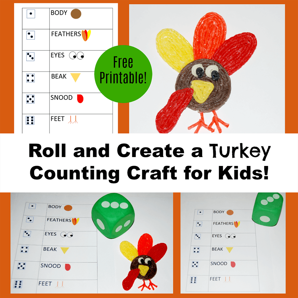 Roll and Create a Turkey Counting Craft for Kids!