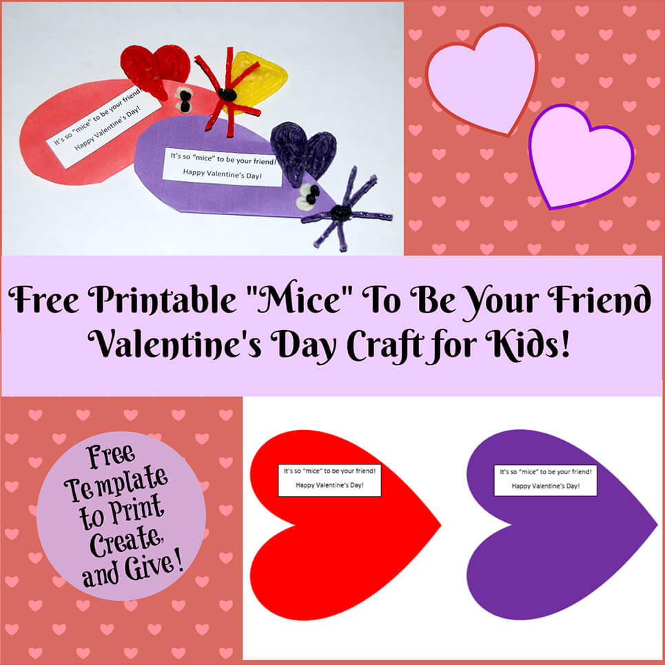 photograph about Printable Valentine named Valentines Working day Printable Card Crafts for Little ones in the direction of Produce