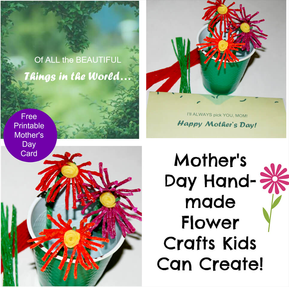 Mother's Day Handmade Flower Crafts Kids Can Create