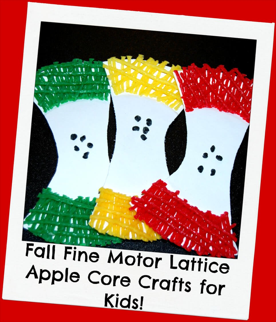 With September right around the corner, all the delights of apple season for kids will soon be here. Even if you don't have an apple orchard to visit this fall with your own kids, they can create a fun Wikki Stix fine motor apple core craft (with lattice patterns) right at home.