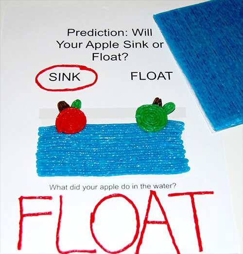 Apple Science Sink or Float with Fine Motor Creation and Play