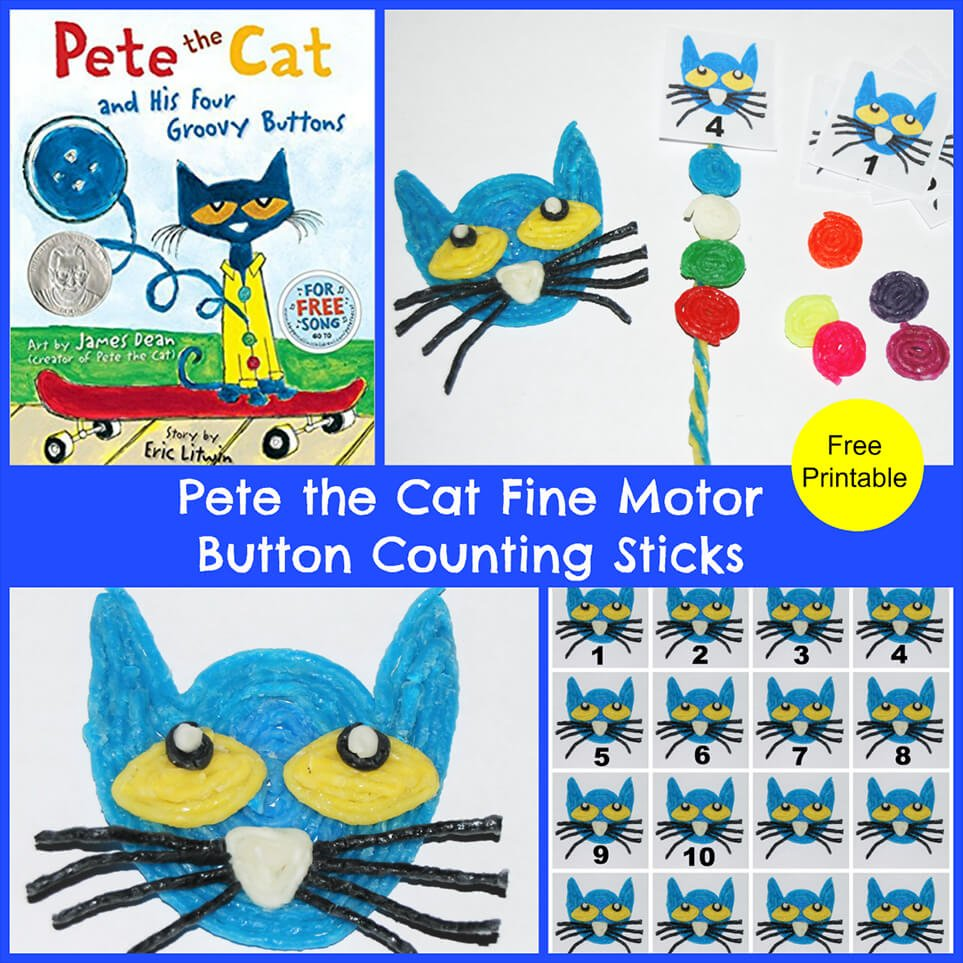 Pete the Cat Button Counting Sticks for Preschoolers!
