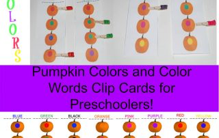 Fine Motor Pumpkin Colors and Colors Words Clip Cards