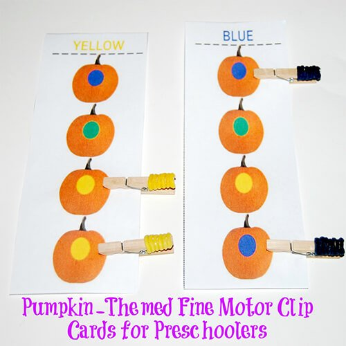 Fine Motor Pumpkin Colors and Color Words Clip Cards for ...
