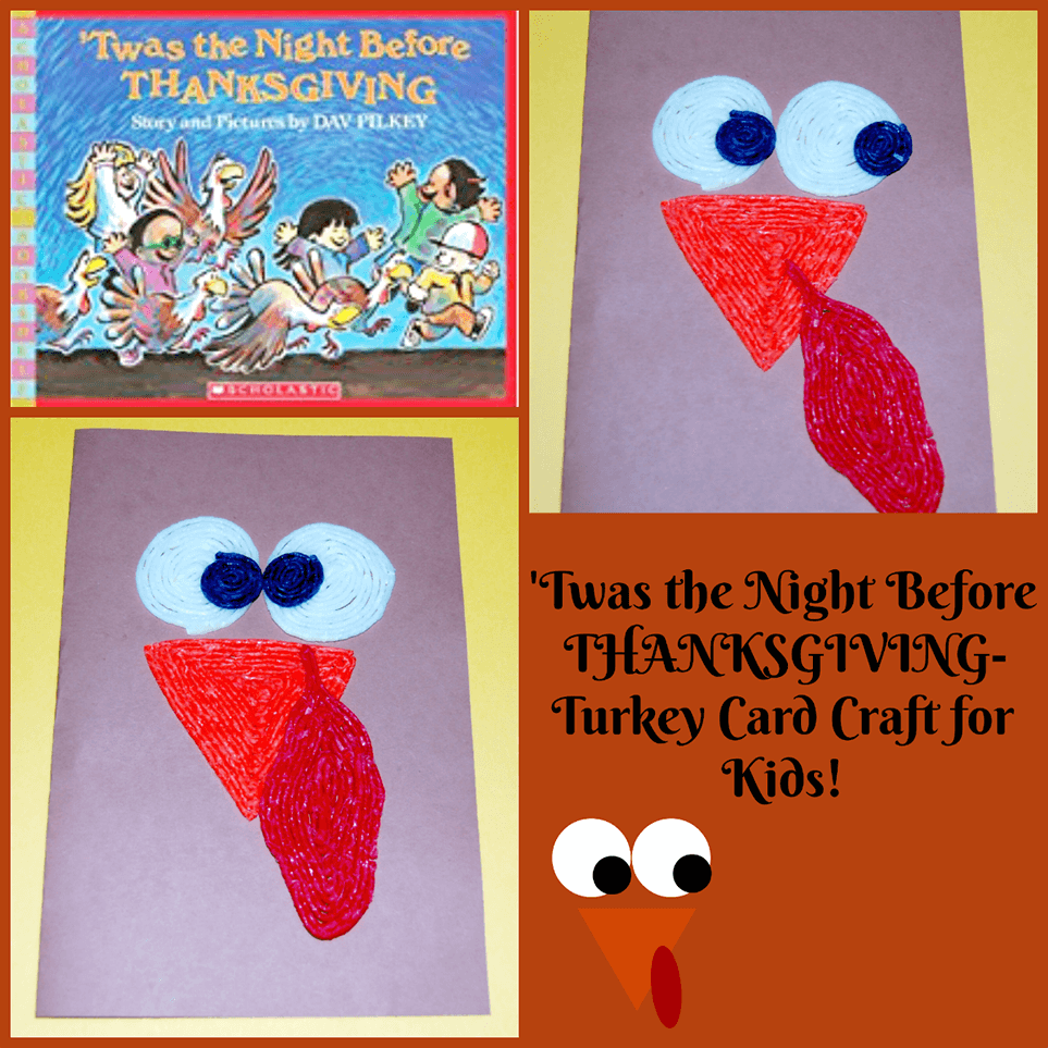 'Twas the Night Before Thanksgiving Turkey Card Craft for Kids
