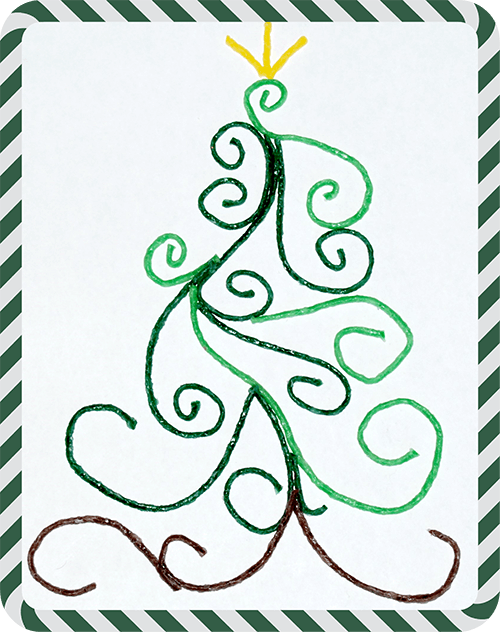 Quilled Christmas Tree Outline with Wikki Stix