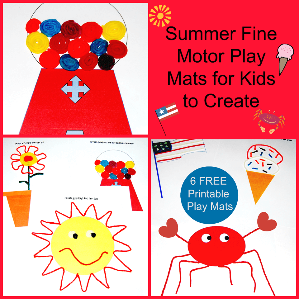 Summer Fine Motor Play Mats for Kids to Create