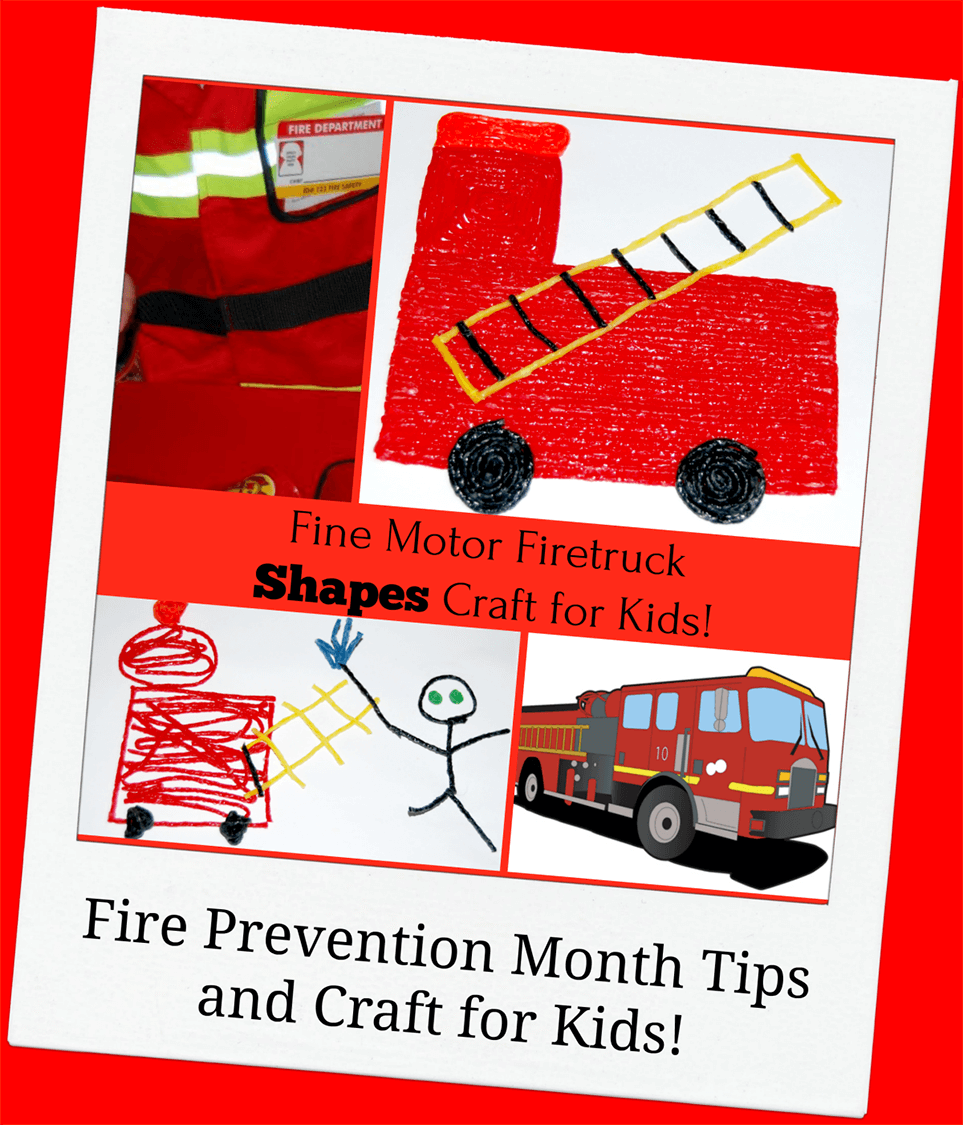 Fine Motor Fire Truck Shapes Craft for Fire Prevention Month