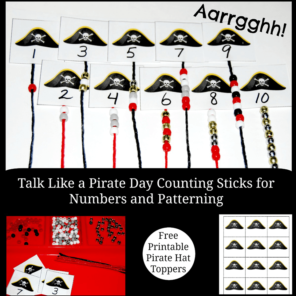 photograph relating to Printable Pirate Hats known as Speak Together with a Pirate Working day Counting Sticks for Early Math