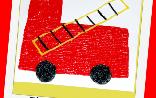 Wikki Stix Firetruck Shapes Craft for Fire Prevention Month