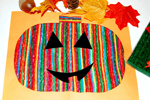 Wikki Stix Candy Stripe Pumpkin Craft for Kids_Jack-O-Lantern