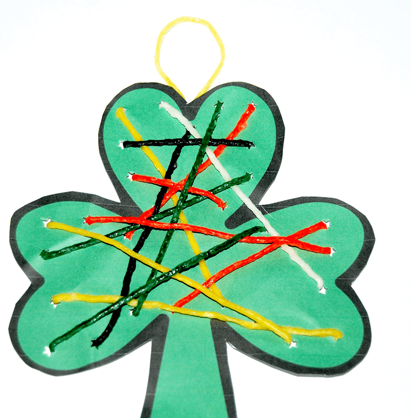 St. Patrick's Day Shamrock String Art for Kids